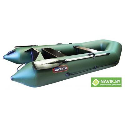 Надувная моторно-гребная лодка Хантер 290 P зеленая